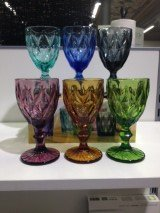 Brandani 54112 Diamante Goblet Ass. Colours6 Pieces Set Glass, Multicolor