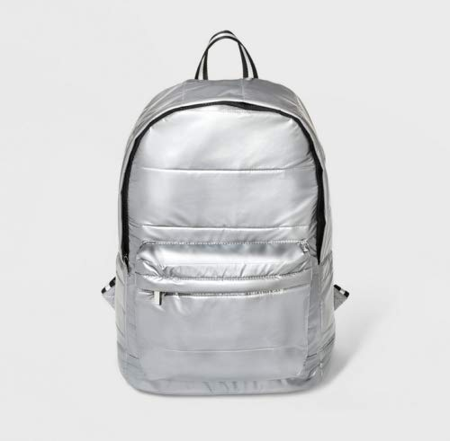 Wild Fable- Silver Quilted Dome Backpack (Aluminum - Dome Quilted