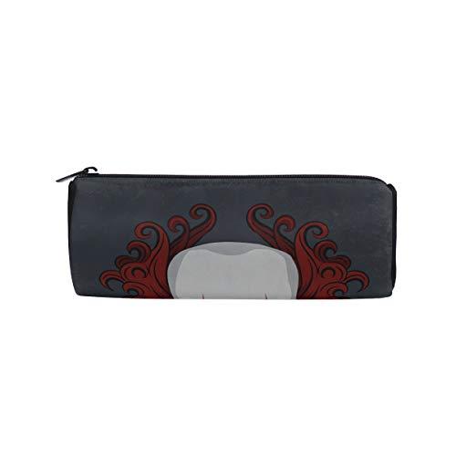 Evil Scary Clown Monster Students Super Large Capacity Barrel Pencil Case Pen Bag Cotton Pouch Holder Makeup Cosmetic Bag for Kids -