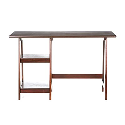 "SEI Furniture Langston A Frame Desk 47"" Wide - Fixed Shelves w/Spacious Design - Expresso Wood Finish - Sawhorse desk features two fixed shelves and spacious desktop for all of your home office needs A-frame design adds style to any home office, living room area, or dorm Rich espresso finish combines with a simple, versatile silhouette for farmhouse inspired transitional style - writing-desks, living-room-furniture, living-room - 31BbC0%2BfGDL. SS400  -"