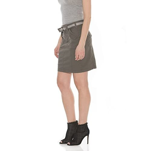 73397c3d68 Suko Jeans Women s Above Knee Stretch Poplin Cargo Skirt With Belt free  shipping