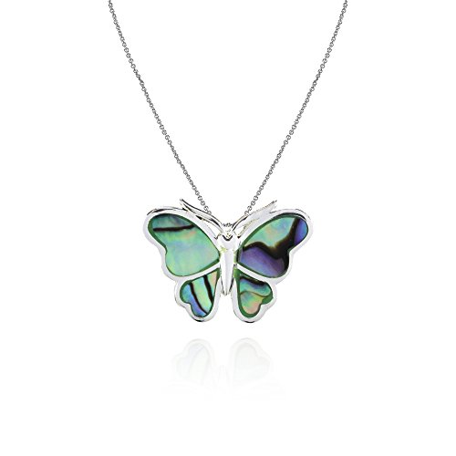 Sterling Silver Abalone Polished Butterfly Slide Pendant (Shell Sterling Silver Slide Pendant)
