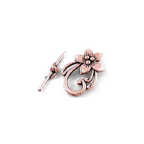 Packet 10x Red Copper Metal Alloy Flower Toggle Clasps 20x28mm Y10710 (Charming Beads)