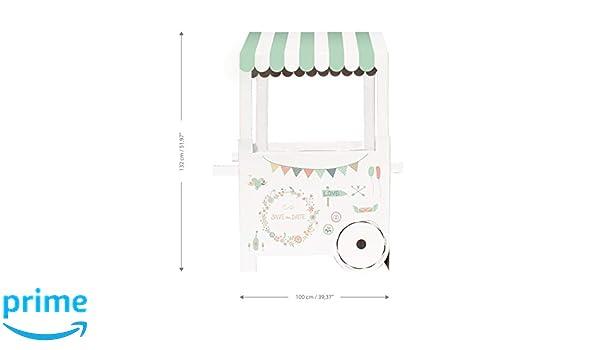 Mery & Lola Party Deco Carrito DE CHUCHERIAS de Cartón Wedding - Boda, Medida 132 Cm (Alto) x 100 Cm (Ancho) x 59 Cm (Profundidad) - Candy Bar - Candy Cart: ...