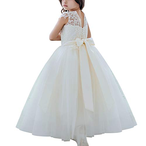 Flower Girls Ivory Lace Bridesmaid Dresses Long A line Tulle Wedding Princess Pageant Party Gown First Communion -