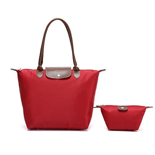 Pocket Lined Two Tote Fully (2 pcs Women's Stylish Waterproof Tote Bag Nylon Travel Shoulder Handbag (Red, Medium))