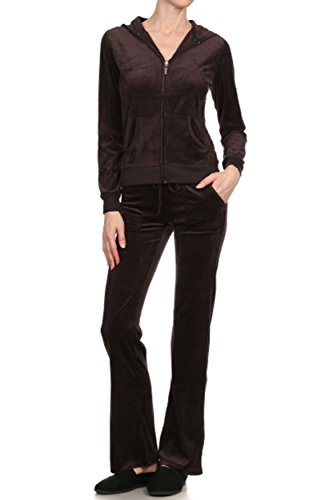 ViiViiKay Women's Soft Velour Tracksuit Athletic Zip Up Hoodie & Sweat Pants Set 001_Brown (Velour Track Pant)