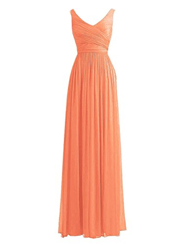 JAEDEN Party Evening for Dress Prom Chiffon Neck Gown Orange Bridesmaid V Long rxvzw0Wqfr