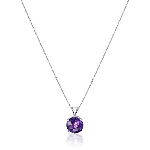 Amethyst pendants amazon 10k white gold round checkerboard cut amethyst pendant necklace 8mm aloadofball Images