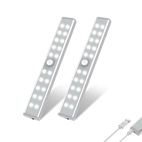 Wardrobe Light, OxyLED Motion Sensor Closet Lights, 20 LED Under Cabinet Lights, USB Rechargeable Stick-on Stairs Step Light Bar, LED Night Light, Safe Light with Magnetic Strip, 2-pack, T-02U