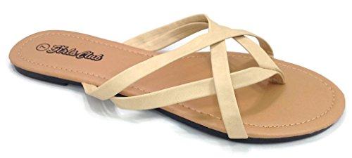 Girls Club Alva Flip Flops Strappy Summer Sandal Criss Cross Double Straps, Biege, 7