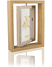 Horizontal Display 6x4 Inch Double Sided Picture Frame, Nordic Wooden Rotating Photo Frame with Plexiglass Window Standing Picture Frame Display Stand