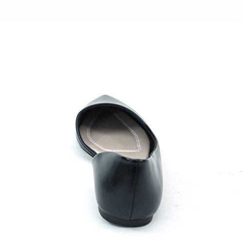 Nouveau Brieten Womens Pointu Orteil Cut-out Style Simple Confort Chaussures Plates Noir
