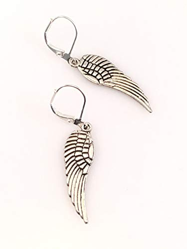 Angel Wing Medium Sized Pewter Earrings -