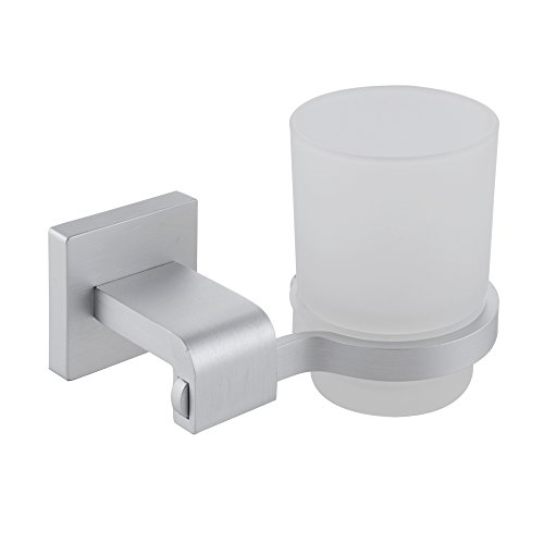 KES Bathroom Single Glass Tumbler with Aluminum Holder Wall Mount, A4250