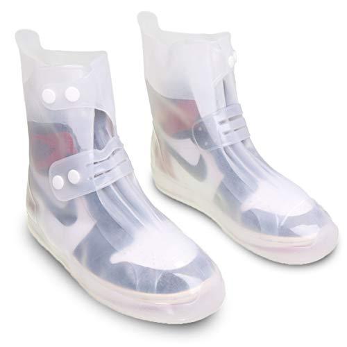VXAR Waterproof Galoshes OvershoesRain Snow Boot Shoe Cover Women Men White 3XL]()