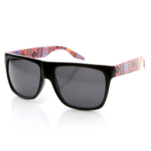 zeroUV - Native Print Classic Retro Fashion Flat Top Horn Rimmed Style Sunglasses - Rimmed Top Glasses