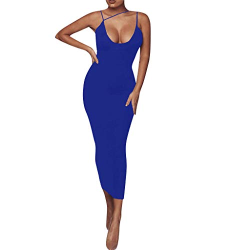 (☆HebeTop Women's Sexy Bodycon Sleeveless Ruched Party Mini Cocktail Dress Blue)