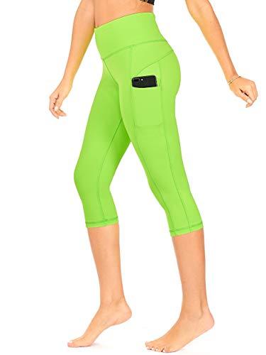 DEAR SPARKLE High Waist Yoga Capri with 3 Pockets Workout Tummy Control Running Capris Plus (S2) (Neon Lime, 2X-Large) ()
