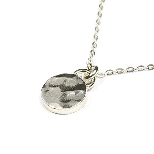 - Scutum Craft 925 Sterling Silver Hammered 9mm Disc Pendant 18