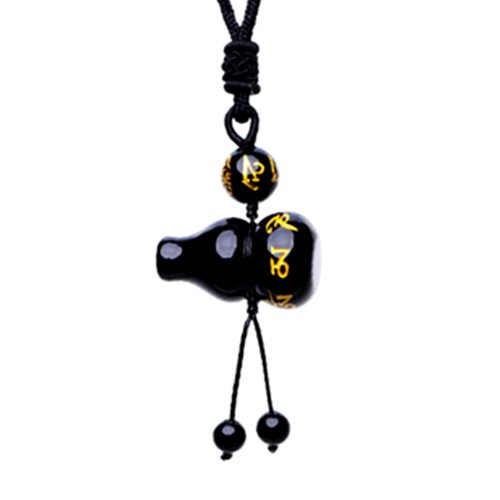 Betterdecor Feng Shui Obsidian Wu Lou/Hu Lu Gourd wtih Tibetan Mantra Necklace Amulet (with a ()