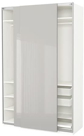 Ikea Armario, Blanco, Hasvik Gris Claro de Alto Brillo, 59x26x93 1/8