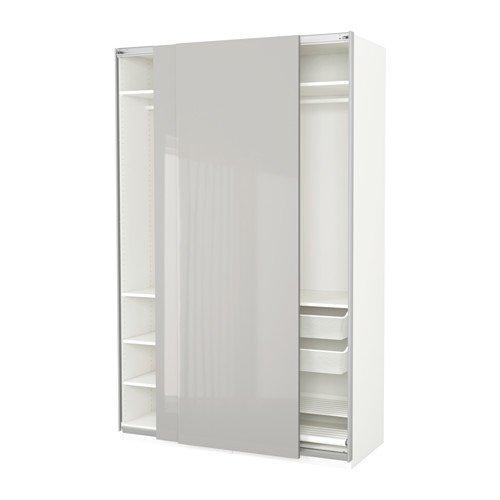 Amazon com: Ikea Wardrobe, white, Hasvik high-gloss light gray
