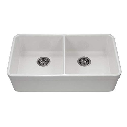 Houzer PTU-3200 WH Fireclay Kitchen Sink, White
