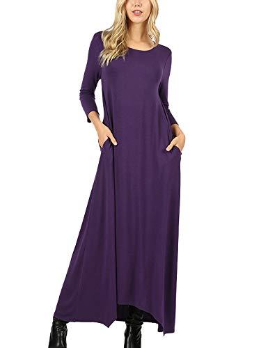 MixMatchy Women's 3/4 Sleeve Shark-Bite Hem Casual Loose Fit Maxi Dresses with Side Pockets Dark Purple ()