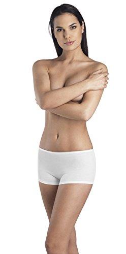 Hanro Women's Cotton Seamless boyleg Panty, White, Small