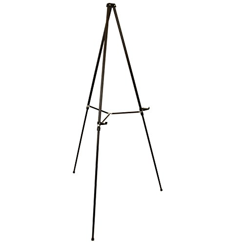 US Art Supply 66 inch Tall Showroom Large Black Aluminum Display & Presentation Floor Easel - Charts Flip Mini