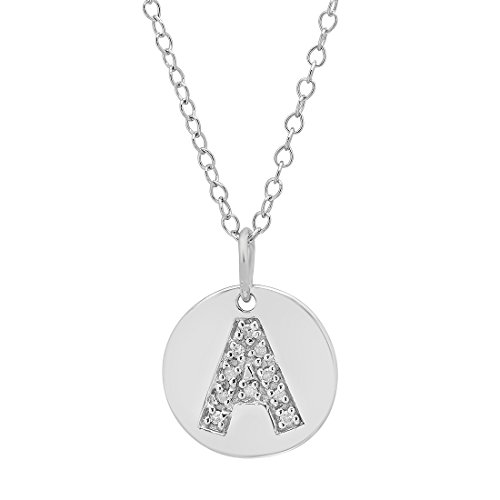 Diamond Disc Initial Pendant in Sterling Silver on an 18 inch chain (Letter A)