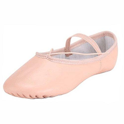Erwachsenen Split Ledersohle Ballett Slipper Rosa