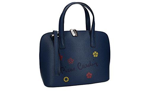 Bolsa mujer de mano bandolera PIERRE CARDIN azul cuero Made in Italy VN1672