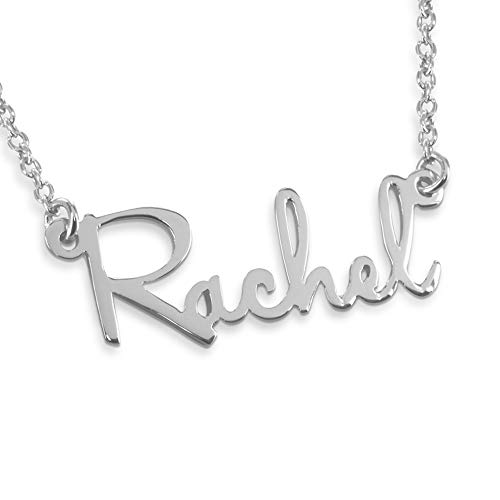Personalized Direct Custom Made Sterling Silver Mini Script Name Necklace Rachel Style, Your Choice of Chain 16
