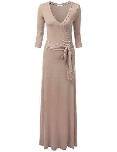 NINEXIS Women's V-Neck 3/4 Sleeve Waist Wrap Front Maxi Dress Mocha 3XL (Pleat Front Wing)