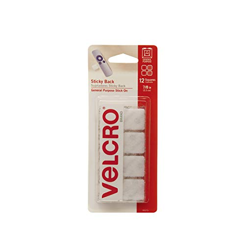 - VELCRO Brand - Sticky Back Hook and Loop Fasteners | Perfect for Home or Office | 7/8in Squares | Pack of 12 | White