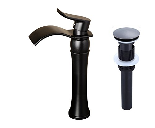 Votamuta Waterfall Spout Single Handle Bathroom Sink Vessel Faucet Basin Mixer Tap, ORB Oil Rubbed Bronze Lavatory Faucets Tall Body with Pop Up Drain