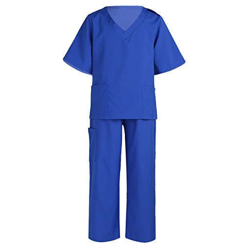 iEFiEL Children Boys Girls Doctor Surgeon Costumes Kids Lab Coat Play Outfit Fancy Dress Party Halloween Blue 10-12 -