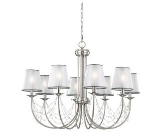 Feiss F2920/8BS 8-Bulb Chandelier, Brushed Steel Finish