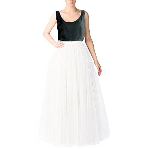 Wedding Planning Long Tutu Tulle Skirt A Line Floor Length Skirts Small White ()