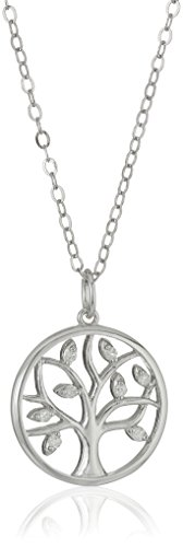 Sterling Silver Diamond Tree of Life Pendant Necklace (1/10cttw, I-J Color, I2-I3 Clarity), 18