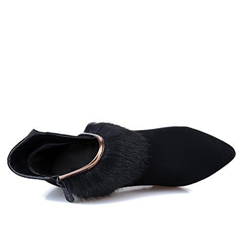 Botas De Tacón Alto De Punta Cerrada Para Mujer De Amoonyfashion Con Suela Antideslizante Y Estilete Negro