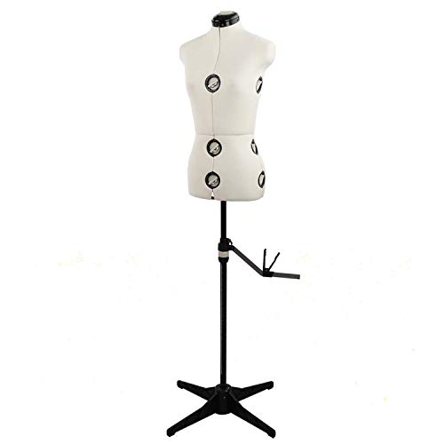 Adjustable Mannequin Dress Form with Tri-Pod Stand, 13 Dials Pinnable Female Torso Body for Sewing, Dressmakers Up to 69 Inch Shoulder Height (Small)