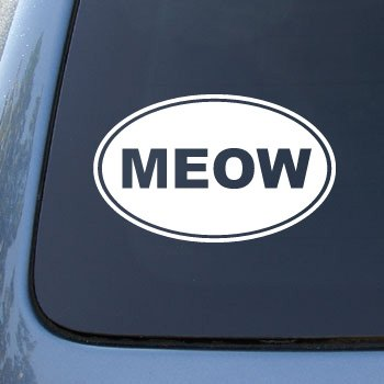 Meow cat vinyl car decal sticker 1538 vinyl color white