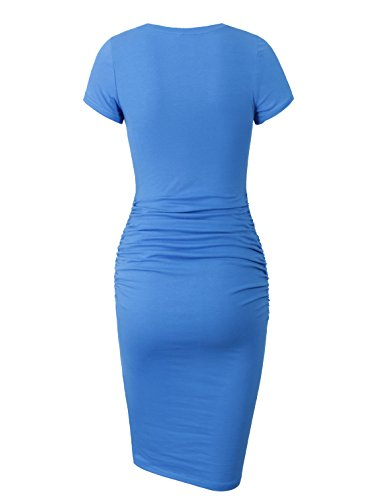 Sheath Blue Casual Sundress Dress Missufe Ruched Women's Bodycon Midi Y8RFZq