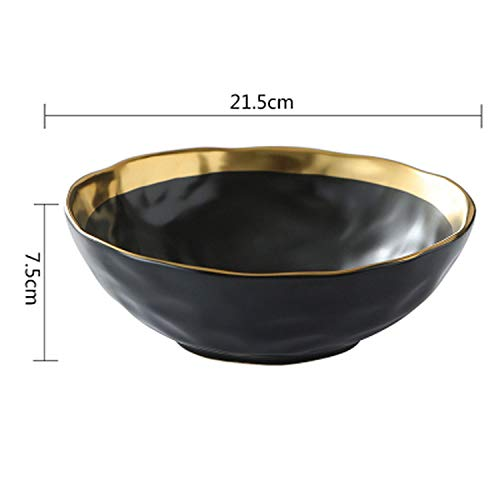 entertainment-moment European Black Gold Ceramic Western Dinner Plate Dumb Light Tracing Golden Steak Plate Creative Black Retro Salad Plate,8.5Inch Bowl