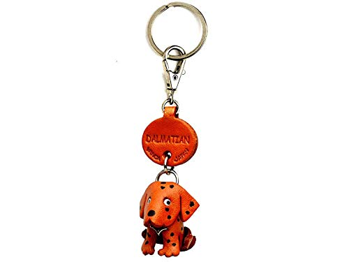(Dalmatian Leather Dog Small Keychain VANCA Craft-Collectible Keyring Charm Pendant Made in Japan)