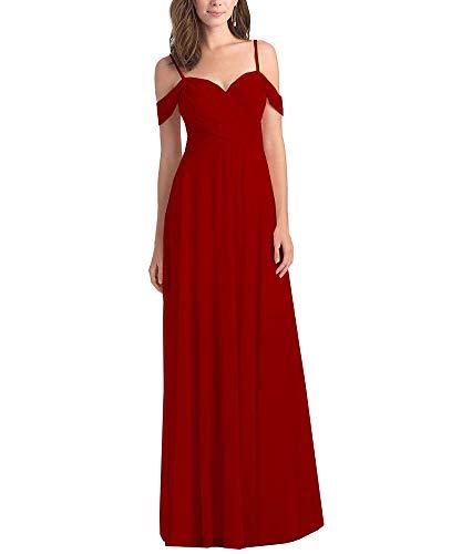 Women's Off The Shoulder Pleated A Line Chiffon Long Bridesmaid Maxi Dress Wedding Evening Dress Burgundy Size 4