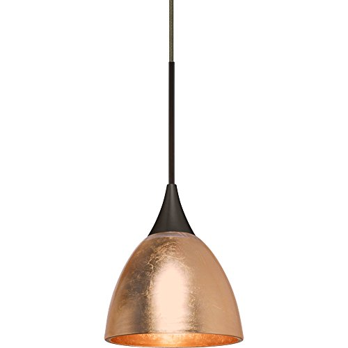 Besa Lighting 1XT-1758CF-BR Divi - One Light Cord Pendant, Bronze Finish with Copper Foil Glass (Divi Copper Foil)